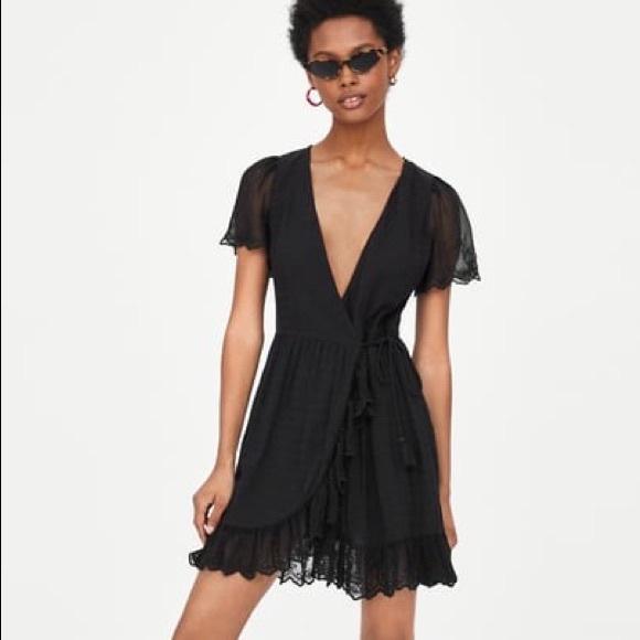 Zara Mini Black Wrap Crossed Dress